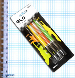 Pack of 3 Glo Retractable Ballpens Rubber Grip Black Ink