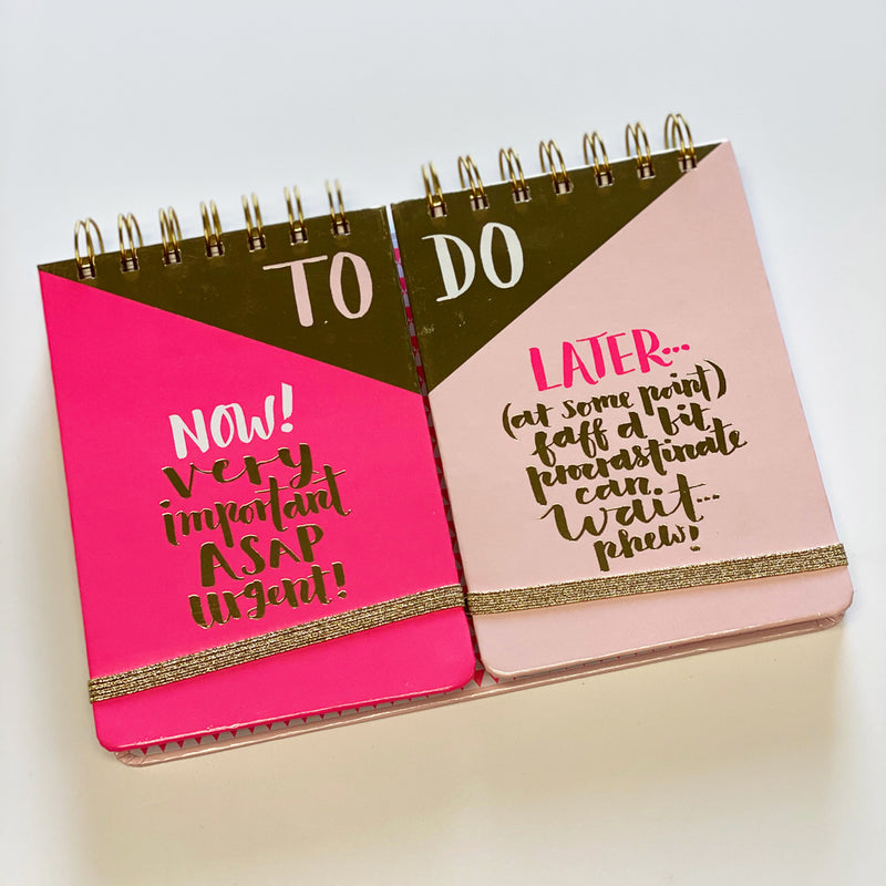 Pink/Gold To Do Now Or Later Duo Notebook by Rachel Ellen Designs