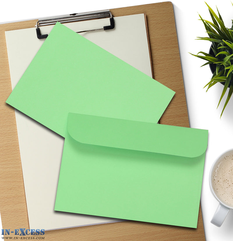 Pastel Green Peel & Seal Envelopes C6 Size Pack of 25