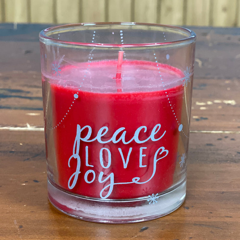 Peace Love Joy Cinnamon Red Candle