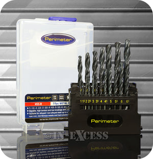 Perimeter HSS-R Black Finish Metal Electric Drill Bit Set - 19 Piece Set