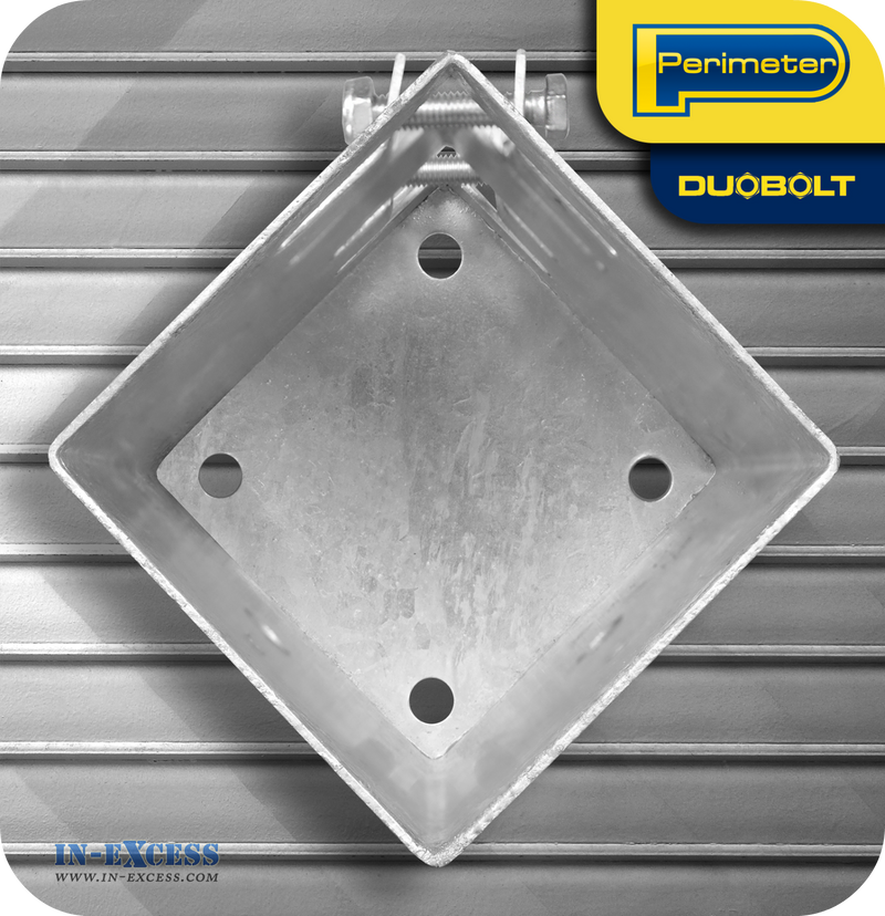 "Perimeter DuoBolt Galvanised Bolt Down Fence Support -  75mm (3"")"