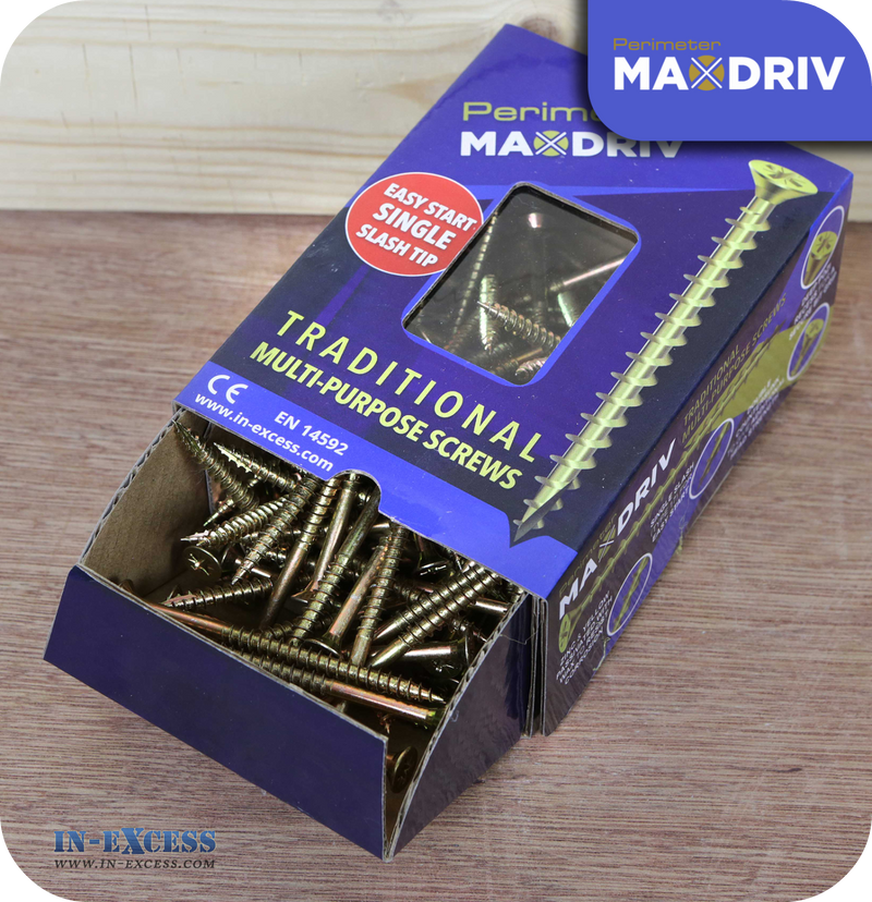 Perimeter MaxDriv Traditional Multi Purpose Screws 4.0 x 60mm - Pack of 100