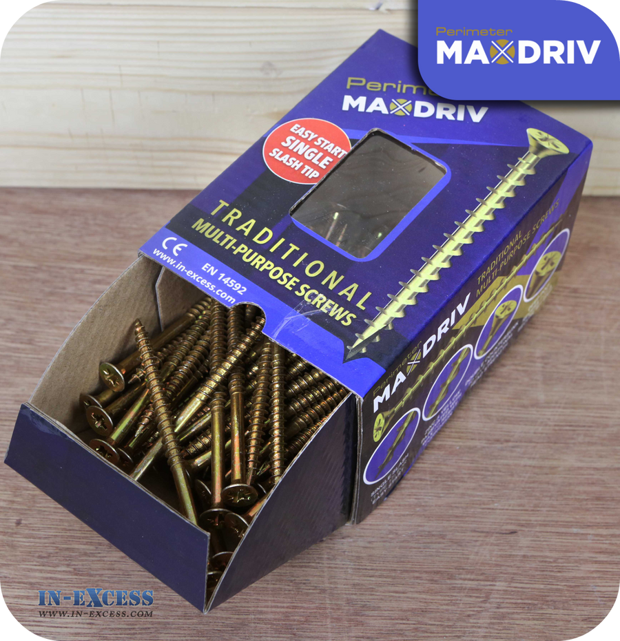 Perimeter MaxDriv Traditional Multi Purpose Screws 6.0 x 100mm - Pack of 100