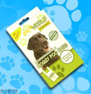 Pet World Biodegradable Doggy Poo Bags 200 Pack