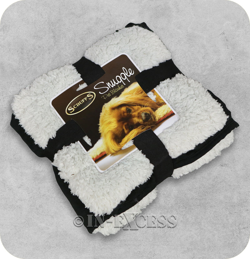 Scruffs Luxurious Faux Suede Plush Reversible Snuggle Pet Blanket - Black