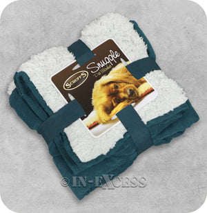 Scruffs Luxurious Faux Suede Plush Reversible Snuggle Pet Blanket - Deep Teal