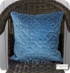 Pignut Casual Living Country Style GEO Velvet Teal Textured Cushion - 45 x 45cm