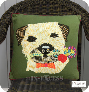 Pignut Casual Living Country Style Cotton Family Friends Border Terrier Cushion - 45 x 45cm