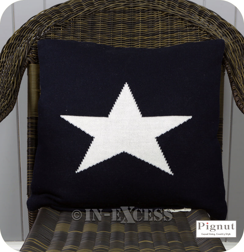 Pignut Casual Living Somerset Star Blue Cotton Cushion - 45 x 45cm