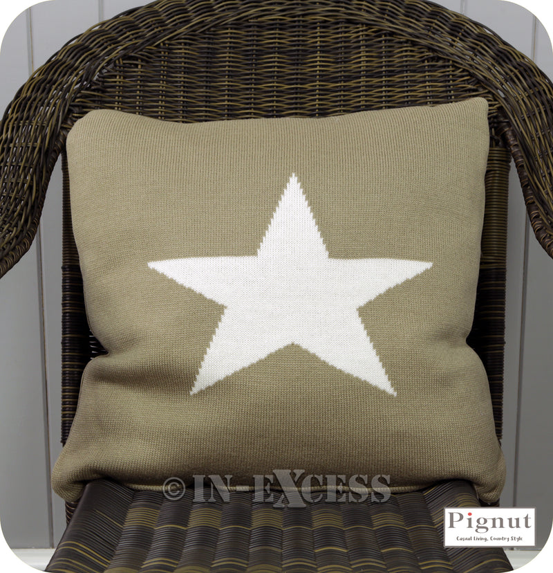 Pignut Casual Living Somerset Star Stone Cotton Cushion - 45 x 45cm