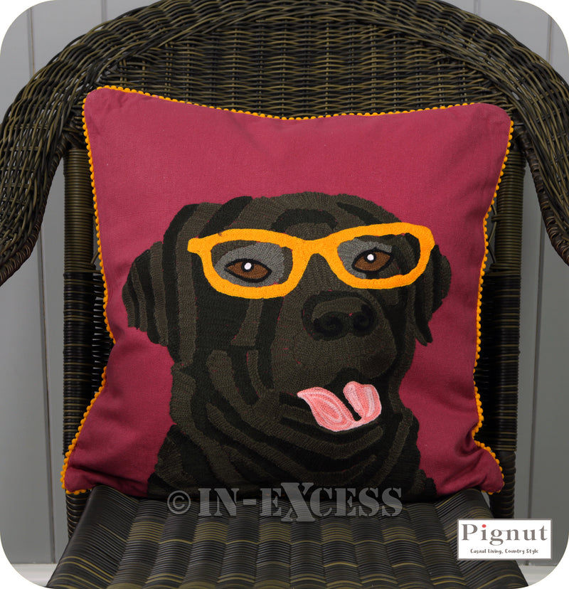 Pignut Casual Living Country Style Cotton Family Friends Labrador Cushion - 45 x 45cm