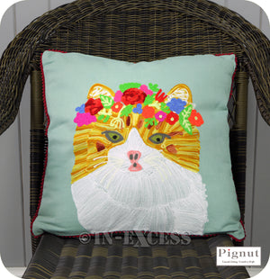 Pignut Casual Living Country Style Cotton Floral Ginger Cat Cushion - 45 x 45cm