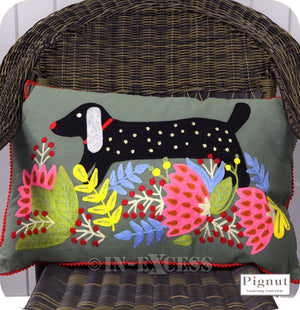 Pignut Casual Living Country Style Cotton Floral Dachshund Dog Cushion - 45 x 45cm
