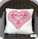 Pignut Casual Living Vintage Red Cotton Reversible Heart Cushion - 45 x 45cm