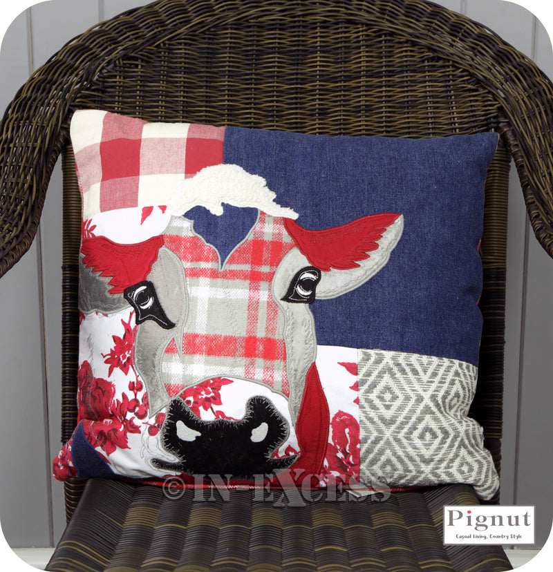 Pignut Casual Living Patchwork Red Cotton Cow Cushion - 45 x 45cm