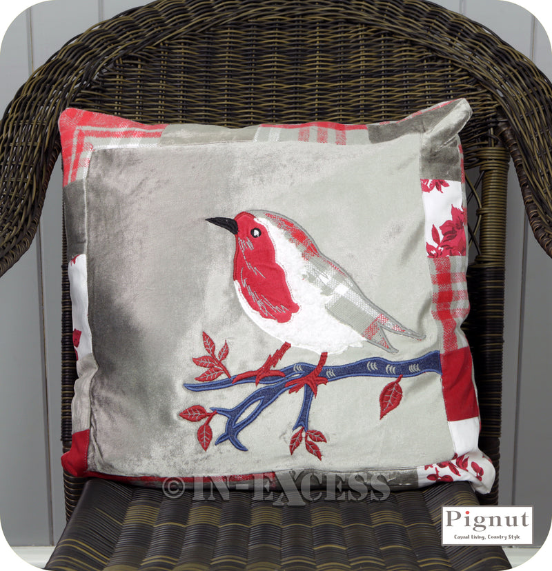 Pignut Casual Living Patchwork Red Cotton Robin Cushion - 45 x 45cm