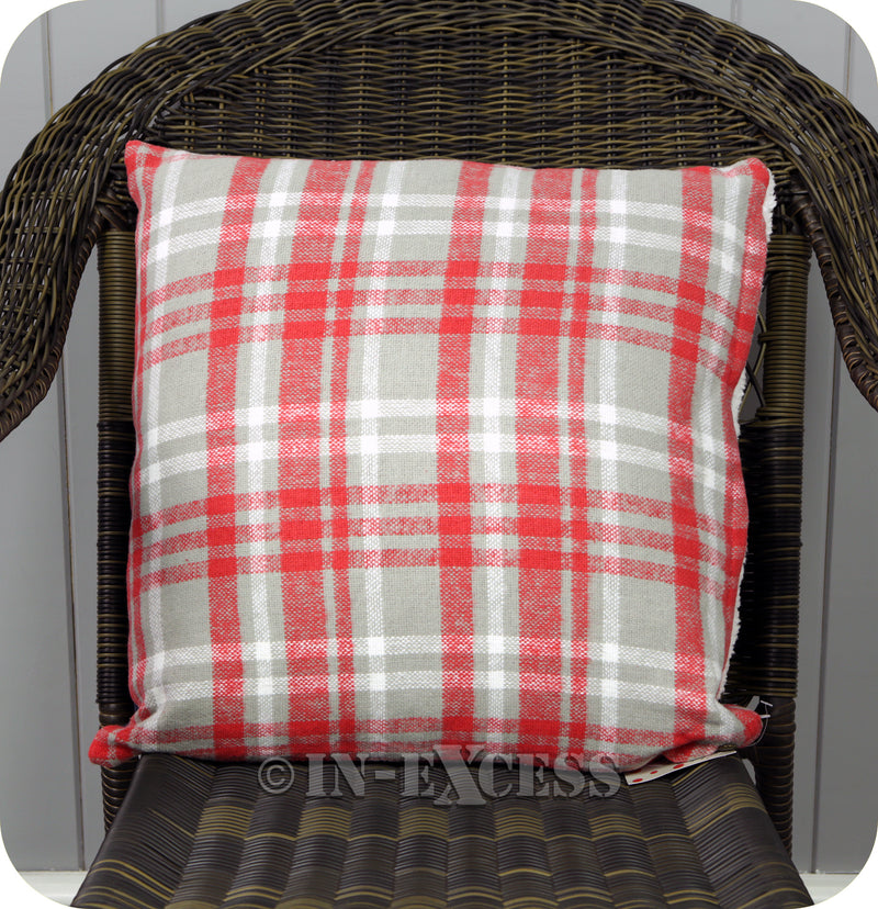 Pignut Casual Living Patchwork Red Cotton Sheep Cushion - 45 x 45cm