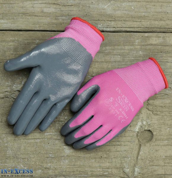 In-Excess Second Skin Nitrile Dipped Gloves Pink (3 Sizes)