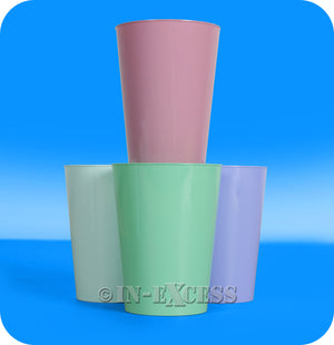 Plastico Mixed Colours Party Plastic Tumbler Cups - 285ml Pack of 8