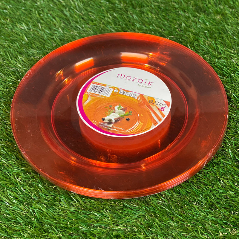 Mozaik Outdoor Picnic Party Plates - Pack of 6 - 23cm Round - Orange