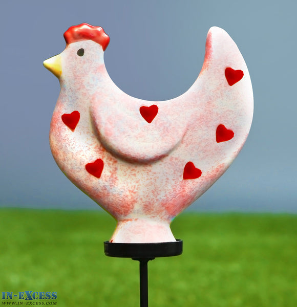 Porcelain Poppet Chicken Red Hearts Shaped Garden Ornament On 80cm Stake