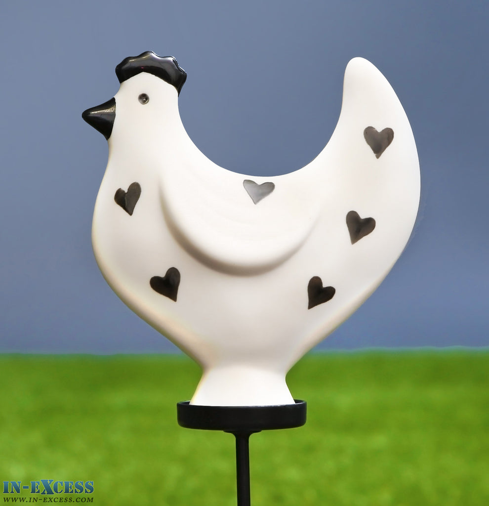 Porcelain Poppet Chicken White Hearts Shaped Garden Ornament On 80cm Stake