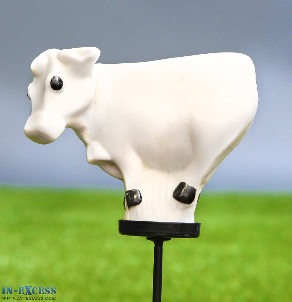 Porcelain Poppet Cow White Shaped Garden Ornament On 80cm Stake