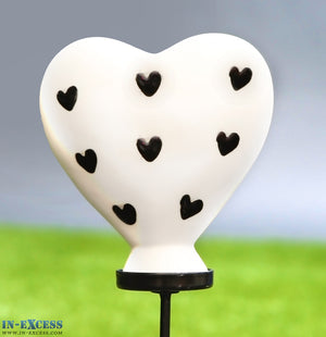 Porcelain Poppet Heart Black Hearts Shaped Garden Ornament On 80cm Stake