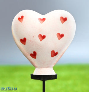 Porcelain Poppet Heart Pink Hearts Shaped Garden Ornament On 80cm Stake