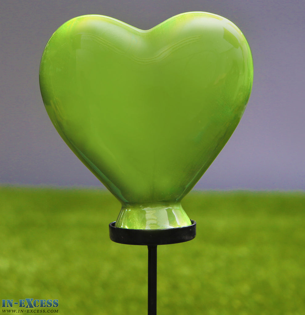 Porcelain Poppet Green Heart Shaped Garden Ornament On 80cm Stake