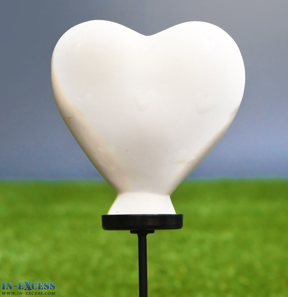 Porcelain Poppet White Heart Shaped Garden Ornament On 80cm Stake