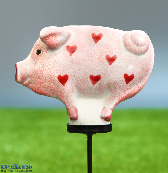 Porcelain Poppet Pig Pink Hearts Shaped Garden Ornament On 80cm Stake