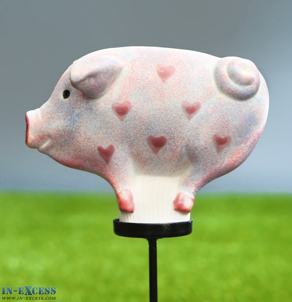 Porcelain Poppet Pig Pale Hearts Shaped Garden Ornament On 80cm Stake