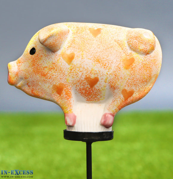 Porcelain Poppet Pig Yellow Orange Hearts Shaped Garden Ornament On 80cm Stake
