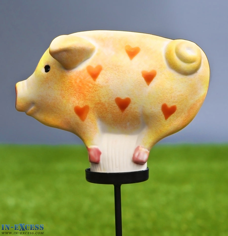 Porcelain Poppet Pig Yellow Red Hearts Shaped Garden Ornament On 80cm Stake