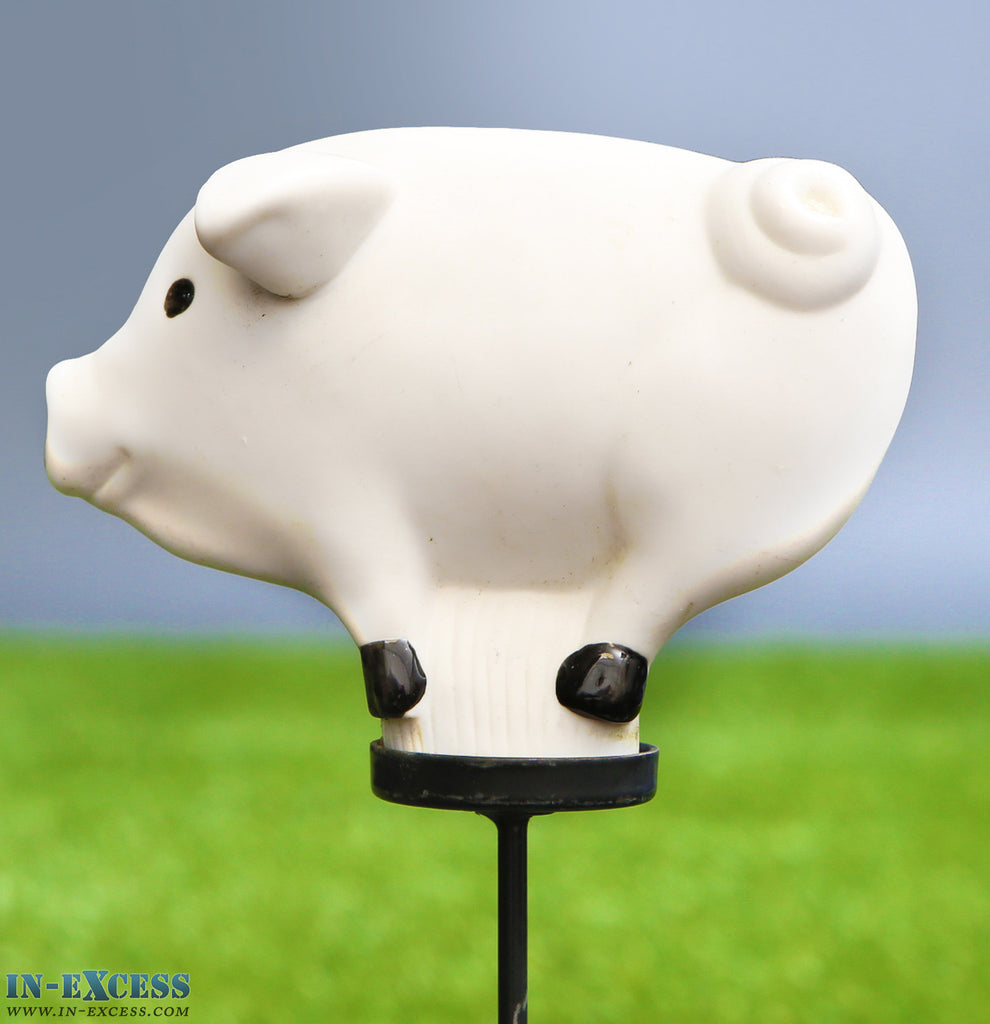 Porcelain Poppet Pig White Shaped Garden Ornament On 80cm Stake