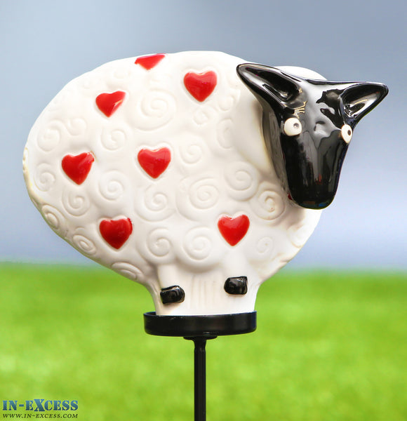 Porcelain Poppet Sheep White Red Hearts Shaped Garden Ornament On 80cm Stake