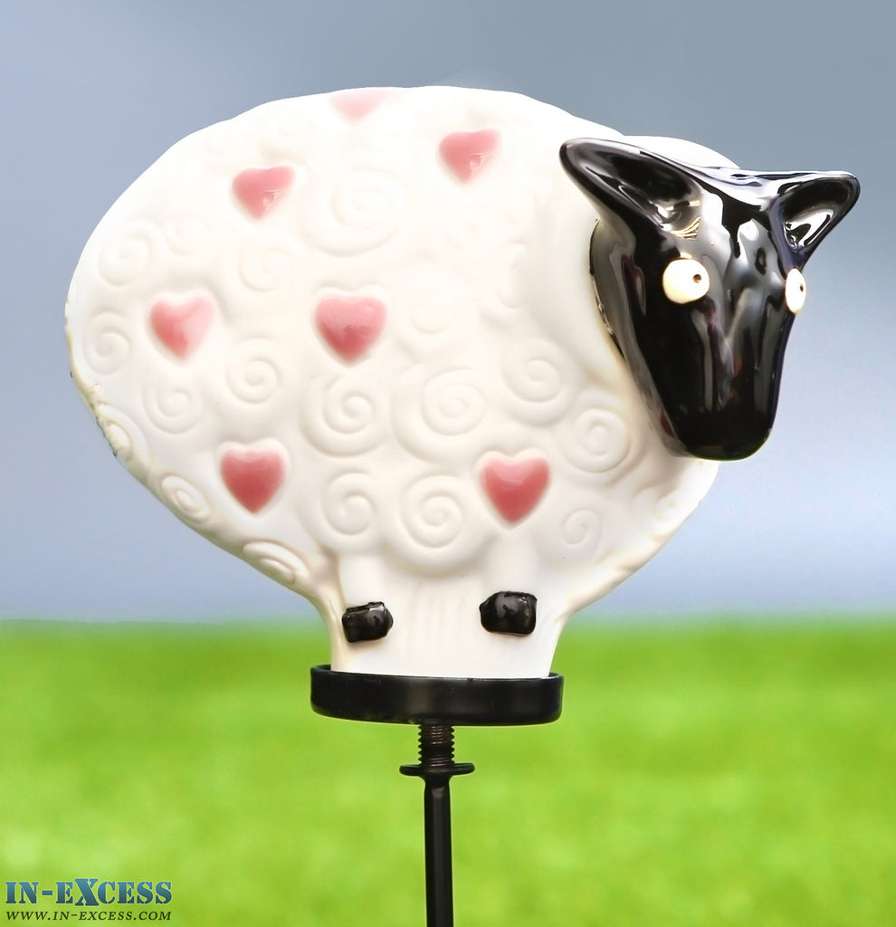 Porcelain Poppet Sheep White Pink Hearts Shaped Garden Ornament On 80cm Stake
