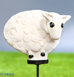 Porcelain Poppet Sheep White Shaped Garden Ornament On 80cm Stake