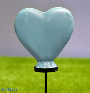Porcelain Poppet Blue Heart Shaped Garden Ornament On 80cm Stake