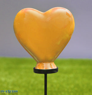 Porcelain Poppet Orange Heart Shaped Garden Ornament On 80cm Stake