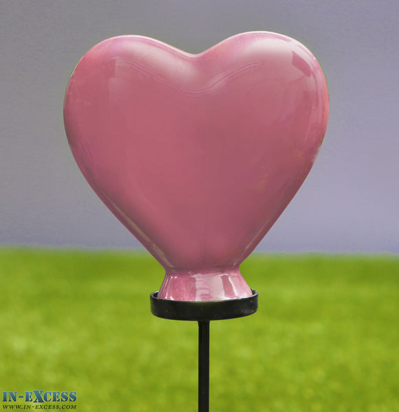 Porcelain Poppet Burgundy Heart Shaped Garden Ornament On 80cm Stake