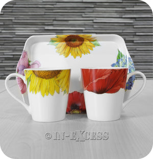 Portmeirion Botanic Blooms By Pimpernel 2 Porcelain Mug & Tray Gift Set - Sunflower / Poppies
