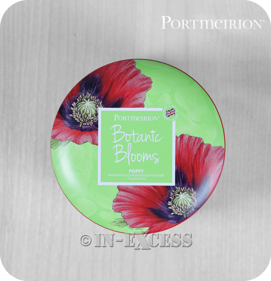 Portmeirion Botanic Blooms By Pimpernel Fragranced Gift Tin Candle - Poppy
