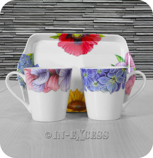 Portmeirion Botanic Blooms By Pimpernel 2 Porcelain Mug & Tray Gift Set - Sweetpea