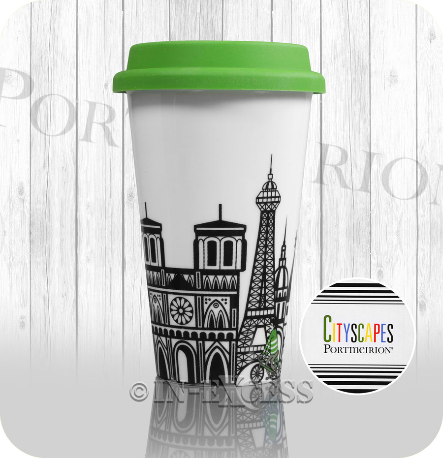 Portmeirion Cityscapes Porcelain Travel Mug With Green Silicone Lid - Paris