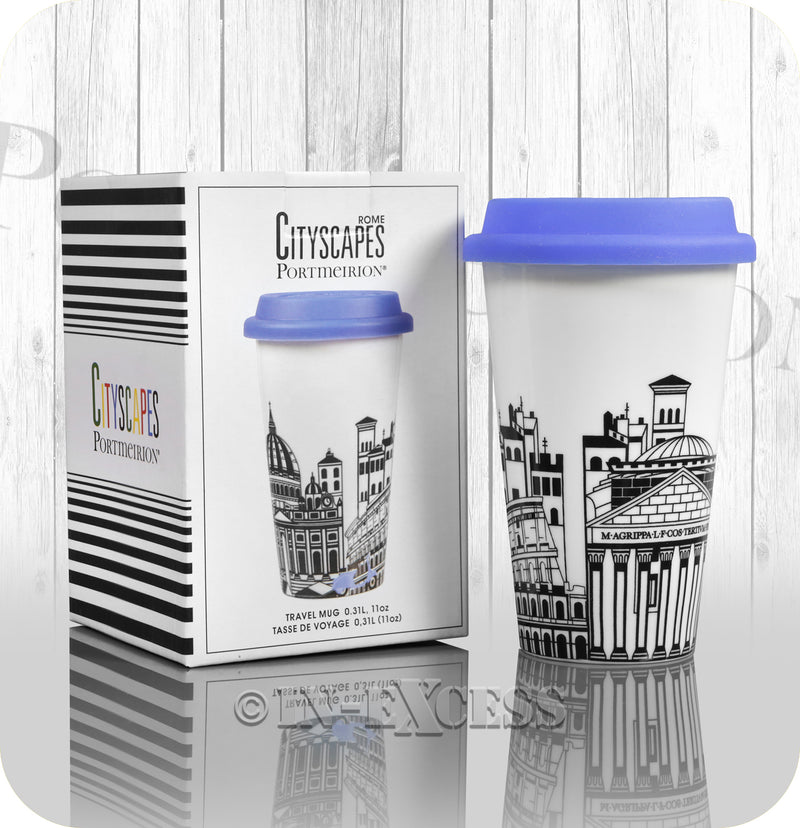 Portmeirion Cityscapes Porcelain Travel Mug With Blue Silicone Lid - Rome