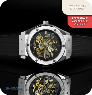 Predator Skeleton Mechanical Wrist Watch With Black Silicone Strap  - Black & Brushed Steel