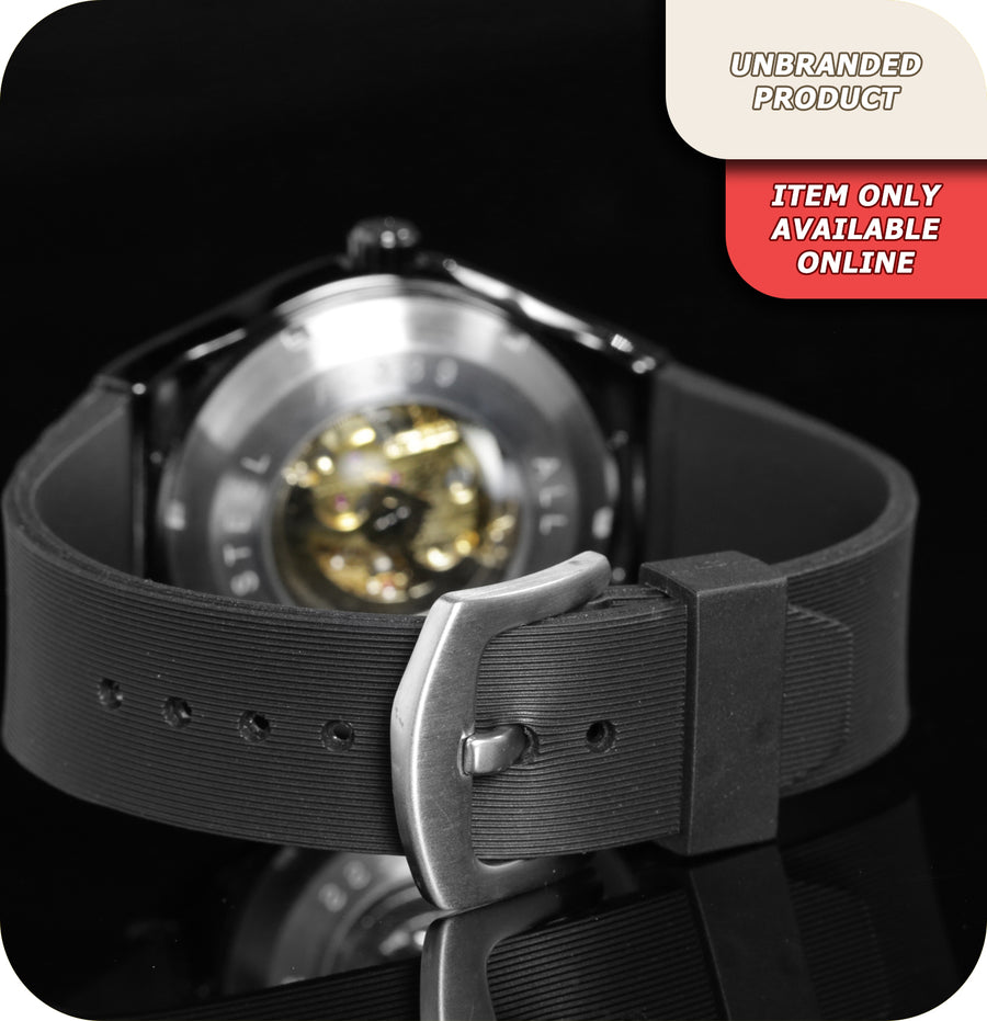 Predator Skeleton Mechanical Wrist Watch With Black Silicone Strap  - Black Brushed Steel